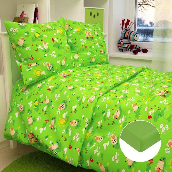Детское постельное бельё с трикотажной простыней, зеленое.