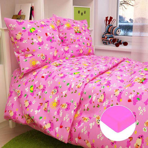 Детское постельное бельё с трикотажной простыней, розовое.