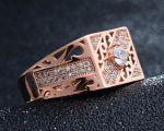 Позолоченное ажурное кольцо с искусственными бриллиантами (арт. 264002)