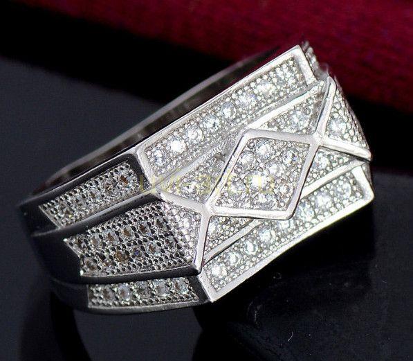 Посеребренное мужское кольцо-печатка с цирконами (арт. 264003)