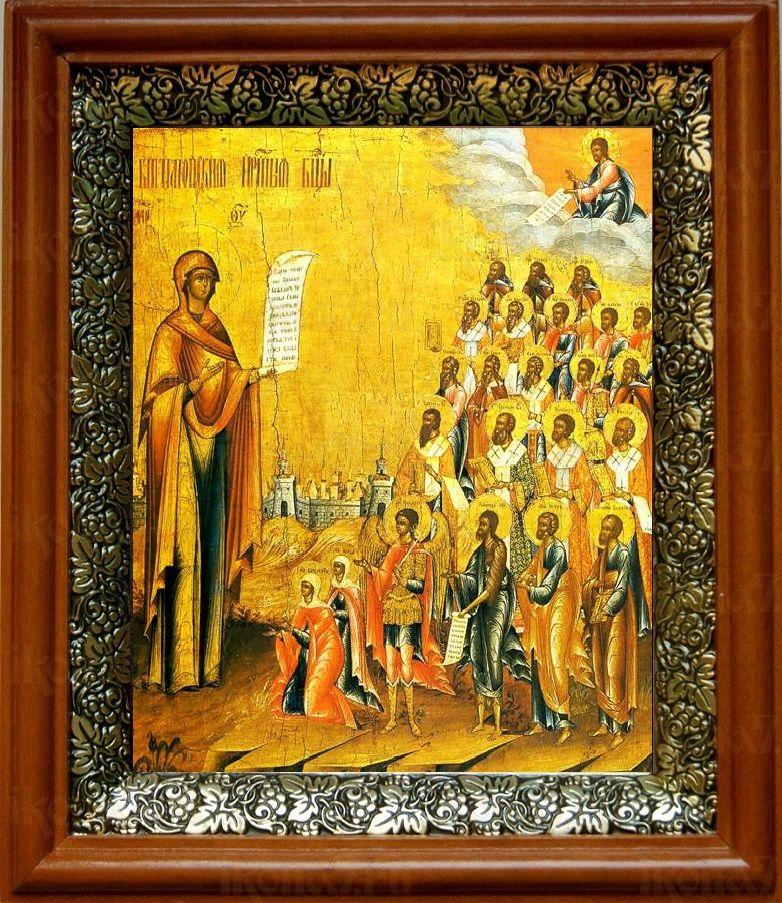 Боголюбская (Московская) икона БМ (19х22), светлый киот