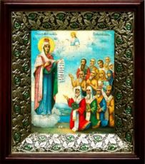 Боголюбская (Московская) икона БМ (21х24), киот со стразами
