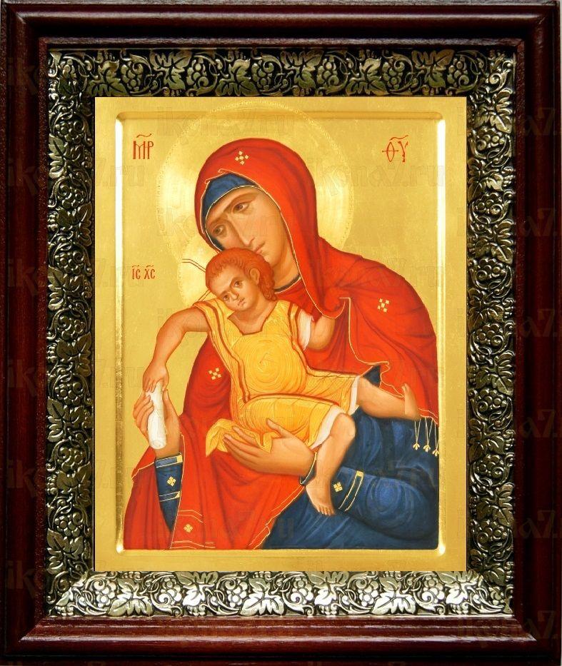 Киккская (Милостивая) икона БМ (19х22), темный киот