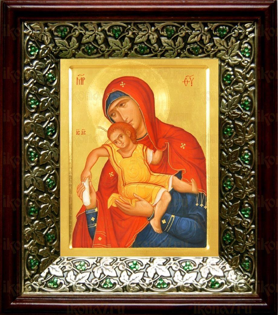 Киккская (Милостивая) икона БМ (21х24), киот со стразами