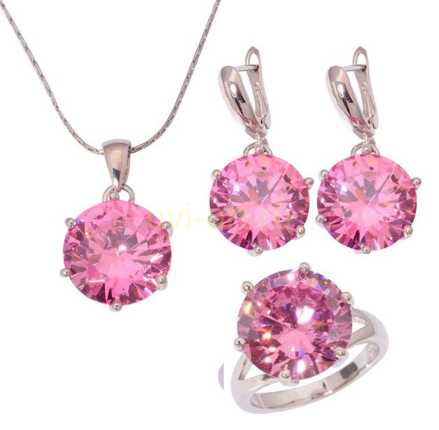 Комплект украшений с розовыми сапфирами - серьги, кольцо, подвеска с цепочкой (арт. 801112106)