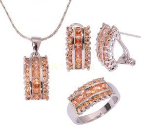 Комплект украшений с медовыми цитринами - серьги, кольцо, подвеска с цепочкой (арт. 801112108)
