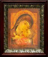 Корсунская икона БМ (19х22), темный киот