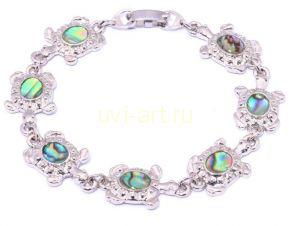 """Позолоченный белым золотом браслет """"Черепашка"""" с разноцветным перламутром (арт. 80111210)"""