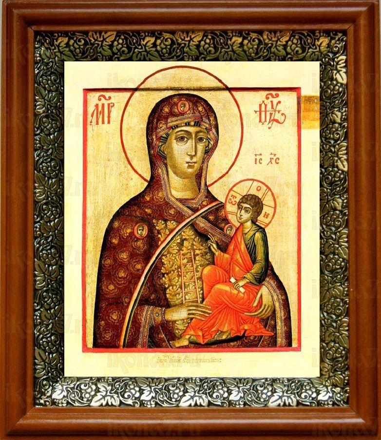 Молченская икона БМ (19х22), светлый киот