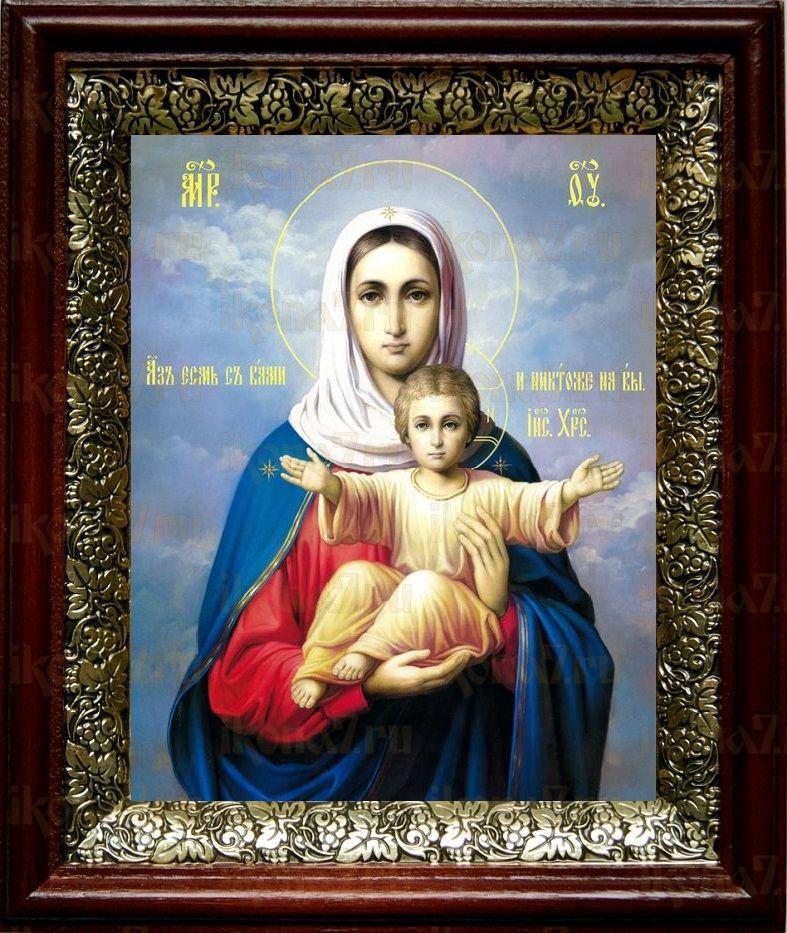 Леушинская икона Божьей Матери (19х22), темный киот