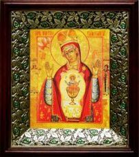 Никейская икона БМ (21х24), киот со стразами