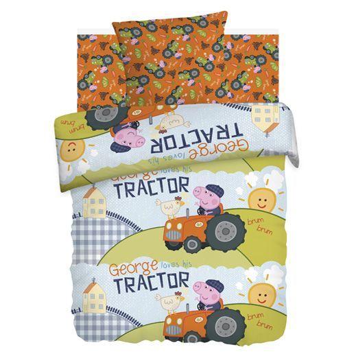 """Детское постельное белье """"Джордж Тракторист"""", рис.8781+8782-1 ."""