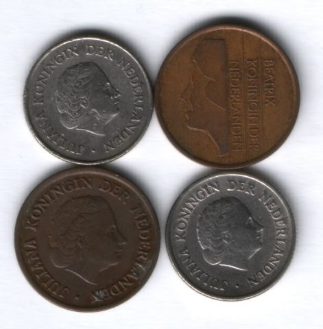 Набор монет Нидерланды 1951-1992 г. 4 шт.