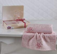 Комплект из 2-х махровых полотенец  VIOLA 50*90+70*140(св.розовый) Арт.1358-3
