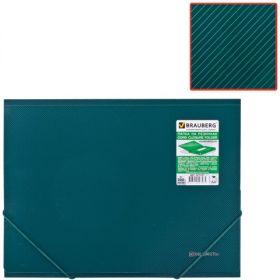 Папка на резинках BRAUBERG Диагональ т-зеленая 221337