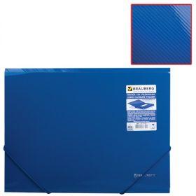 Папка на резинках BRAUBERG Диагональ т-синяя 221335