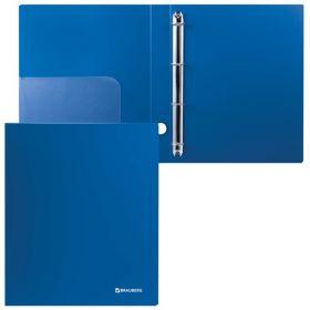 Папка 4 кольца 40мм BRAUBERG Стандарт синяя 221619