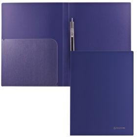 Папка-скоросшиватель+карман BRAUBERG Диагональ т-синяя 221352