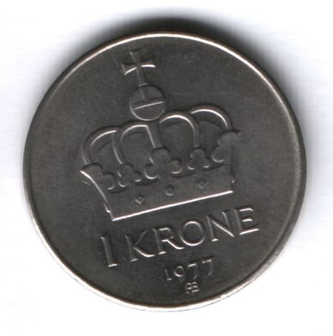 1 крона 1977 г. Норвегия