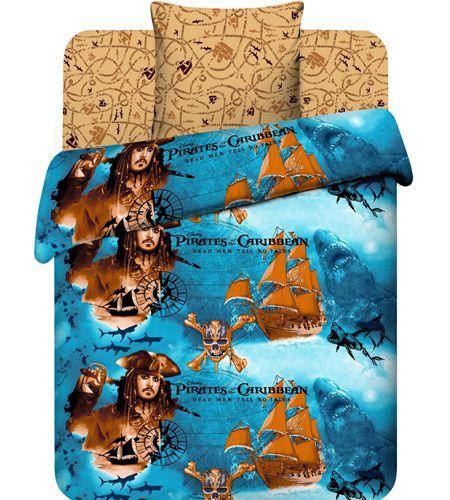 """Подростковое постельное белье """"Пираты Карибского моря"""" рис.7031."""