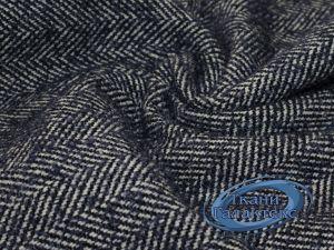 Твид Ёлка-импульс Пальтовая ткань 9B-9/C#2328 синий