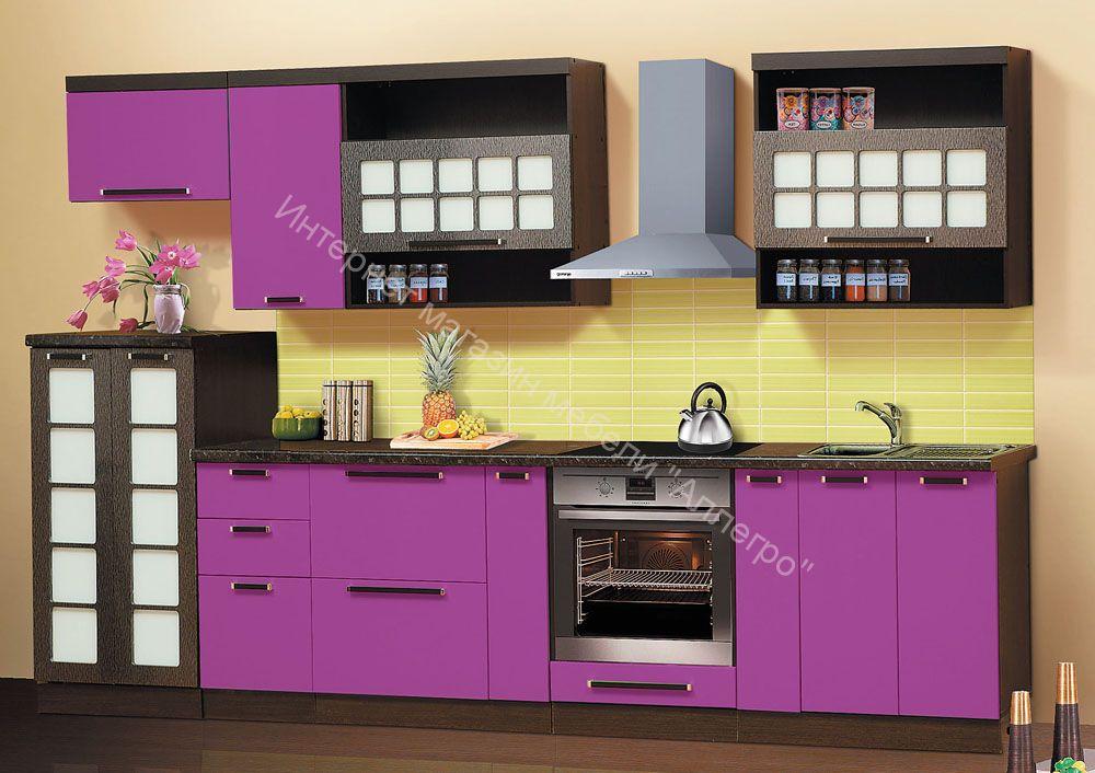 "Кухонный гарнитур ""Диана 9"" 3.2 м виола фиолетовый/Огни нью-Йорка"