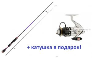 Спиннинг Aiko Margarita II 180 UL-S 180см 0,5-5 гр + катушка Cormoran Pearl Master 2000  в подарок!