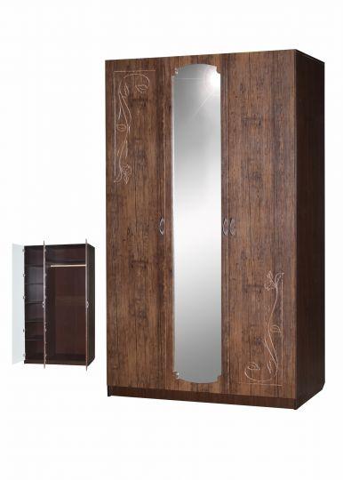 Шкаф Гармония-Рельеф трехдверный с зеркалом