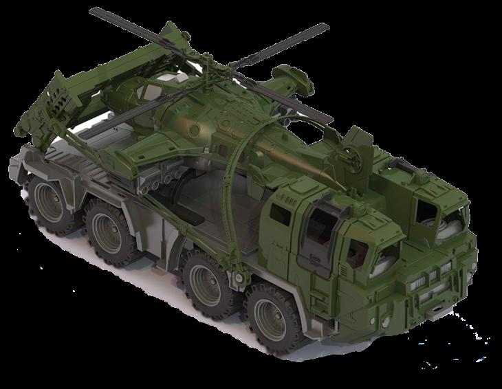 Военный тягач Щит с вертолетом