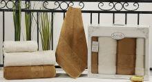 """Комплект из 4-х бамбуковых полотенец """"KARNA""""  PANDORA 50*90-2 шт. + 90*150-2 шт.(крем-горчичный)  Арт.2198-5"""