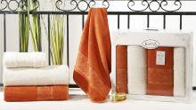 """Комплект из 4-х бамбуковых полотенец """"KARNA""""  PANDORA 50*90-2 шт. + 90*150-2 шт.(крем-кирпичный)  Арт.2198-6"""
