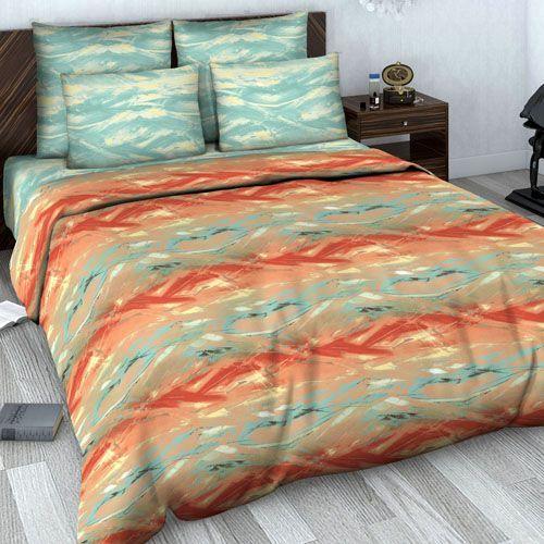 """Сатиновое постельное белье """"Коралловый закат"""" рис.616-2."""