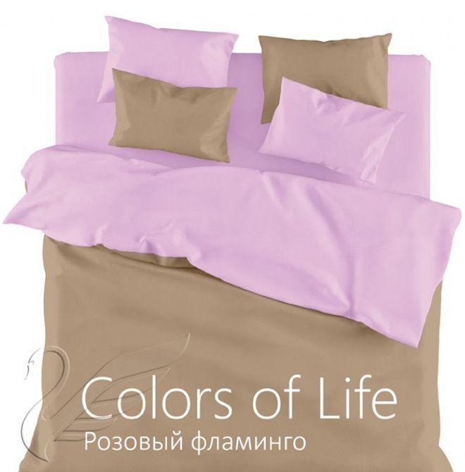 """Однотонное постельное белье """"Розовый фламинго"""", сатин"""