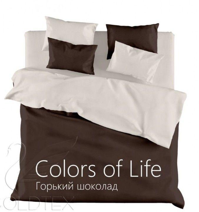 """Однотонное постельное белье """"Горький шоколад"""", сатин"""