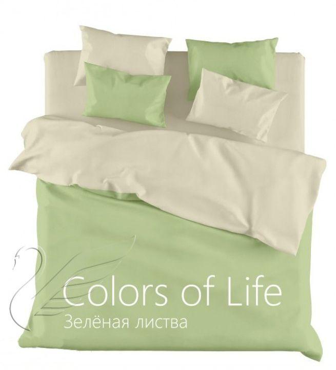 """Однотонное постельное белье """"Зеленая листва"""", сатин"""