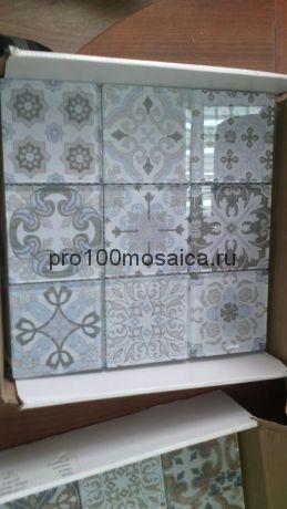 COIN BLUE. Мозаика 98х98 мм, серия GLASS, размер, мм: 300*300*8 мм (ORRO Mosaic)