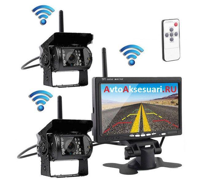 Беспроводные камеры заднего вида 2 шт с монитором 7 дюймов для грузовиков PZ900/2