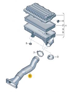 Воздуховод от воздухозаборника до корпуса фильтра Polo седан до 2015 года (CFNA)