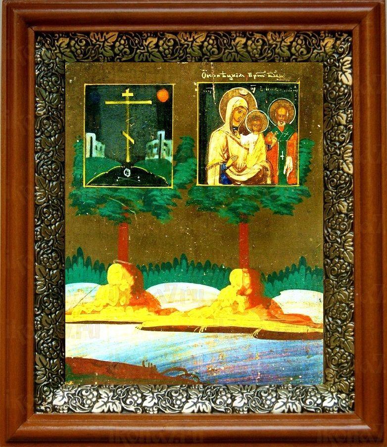 Оковецкая икона БМ (19х22), светлый киот