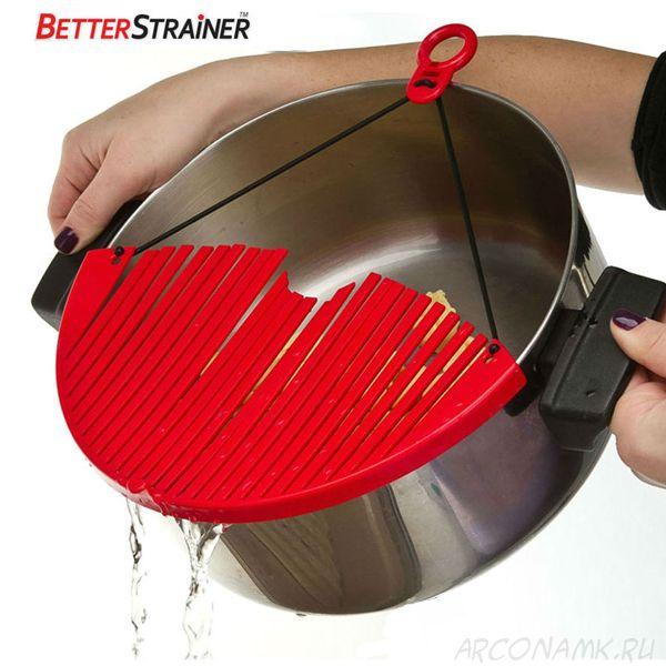 Дуршлаг-накладка для слива воды (кухонный фильтр) Better Strainer