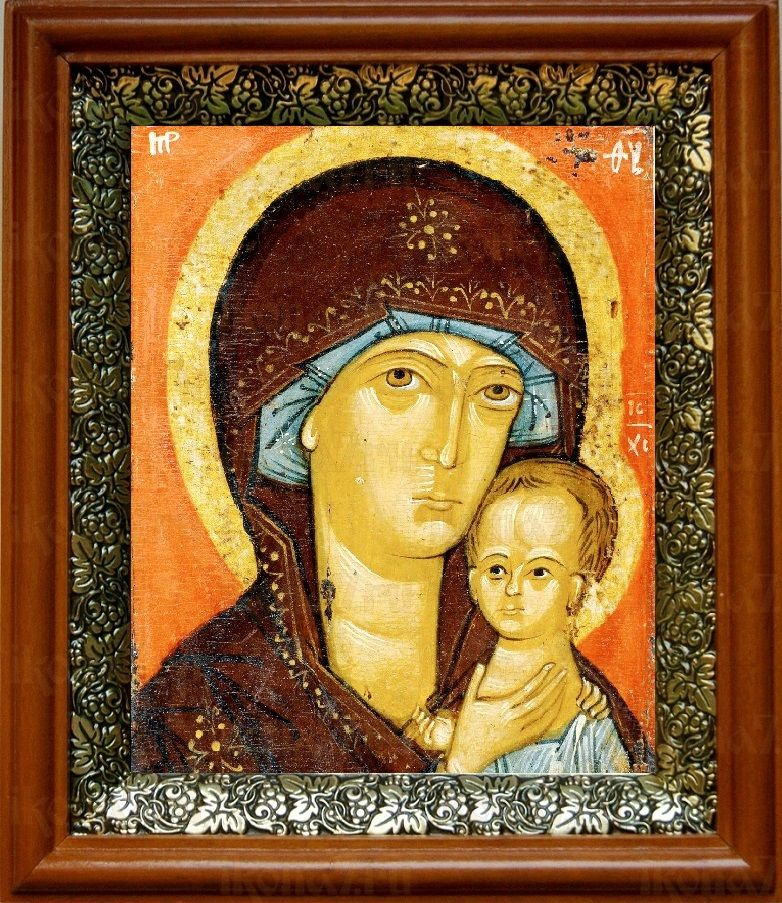 Петровская икона БМ (19х22), светлый киот