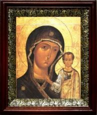 Петровская икона БМ (19х22), темный киот