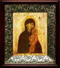 Пименовская икона БМ (21х24), киот со стразами