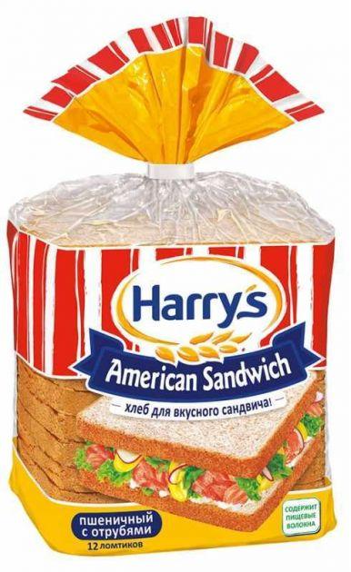 Хлеб HARRYS пшеничный нарезной с отрубями 515г