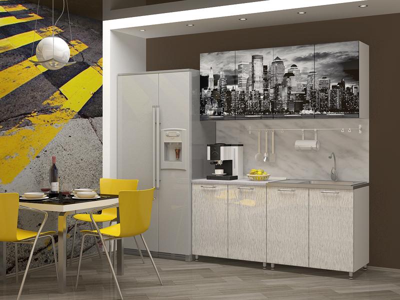 """Кухня с фотопечатью """"Сити"""" 1,6м"""