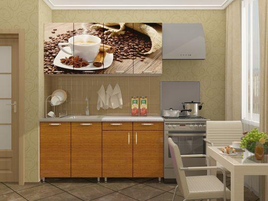 """Кухня с фотопечатью """"Кофе"""" 1,6м"""