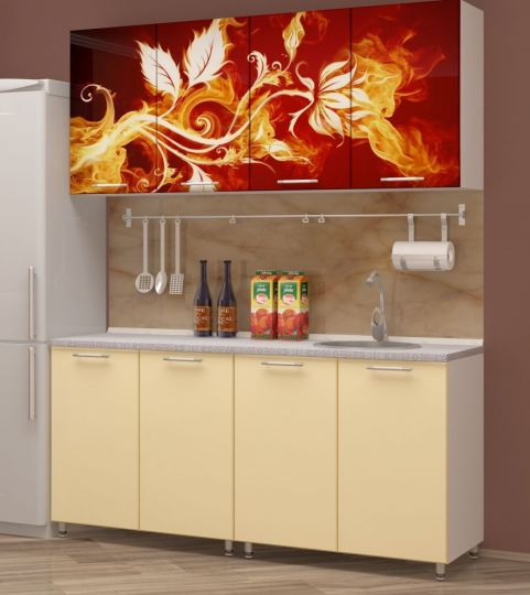 """Кухня с фотопечатью """"Огненный цветок"""" 1,6м"""