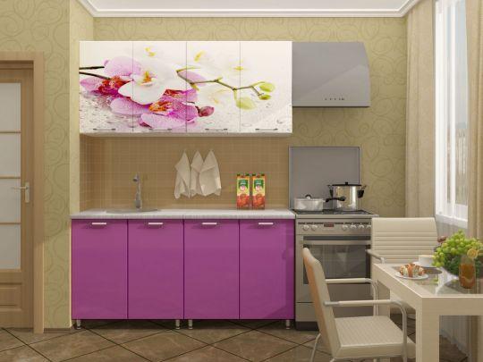 """Кухня с фотопечатью """"Орхидея"""" 1,6м"""