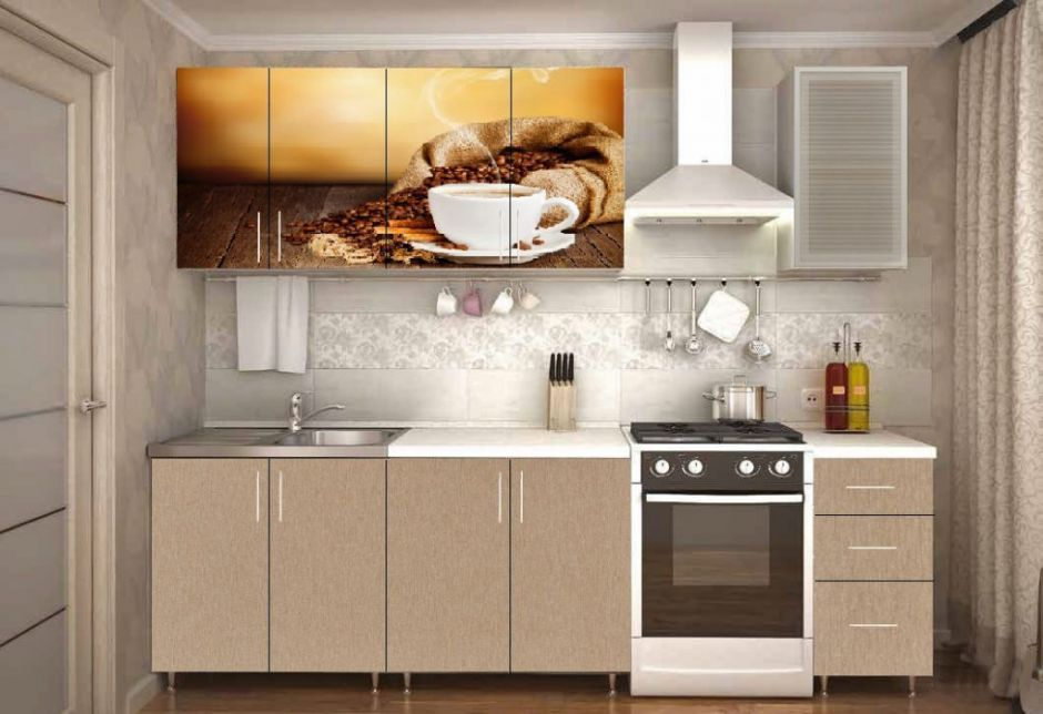 """Кухня с фотопечатью """"Кофе"""" 2м"""