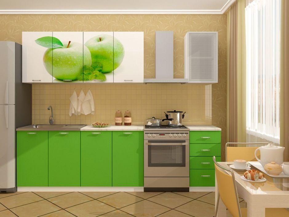 """Кухня с фотопечатью """"Яблоко """" 2м"""